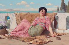 "John William Godward, The Quiet Pet"" Turtle, Beautiful Woman, 20""x14"" Canvas Art"