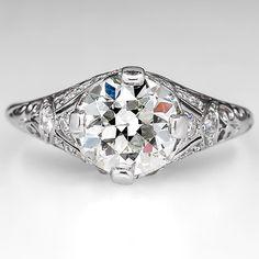 1.9 CARAT OLD EUROPEAN CUT DIAMOND ENGAGEMENT RING FILIGREE 18K WHITE GOLD ANTIQUE 1930'S