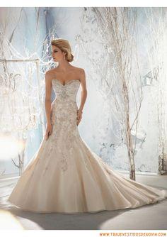 Organza vestidos de novia con flores de 2014 nuevo estilo