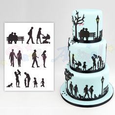 Family Silhouette Cutter Set by Patchwork Cutters. Create stunning cake side designs and toppers with this family themed Cutter / Embosser set, developed by Marion Frost. The set includes eleven designs in various sizes, ranging from a cu Silhouette Wedding Cake, Silhouette Cake, Silhouette Cutter, Birthday Cakes For Men, 90th Birthday Parties, Wilton Candy Melts, Latest Cake Design, Dad Cake, Family Cake