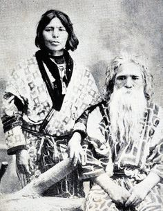 Portrait of an Ainu couple in Japan. Ainu are the indigenous people in Japan, a few of whom remain in Hokkaido.