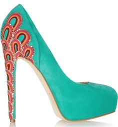 Brian Atwood Claudia embroidered suede pumps  Original price USD2,115 NOW USD846