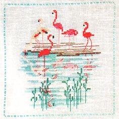 Artis in cross stitch - embroidery - vintage #flamingos