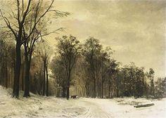 Louis Apol, A HORSE-DRAWN CART IN A SNOWY LANDSCAPE