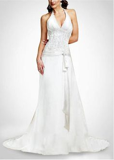 LACE BRIDESMAID PARTY BALL EVENING GOWN IVORY WHITE FORMAL PROM BEAUTIFUL HALTER SHEATH CHIFFON WEDDING DRESS