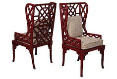Amazing Bamboo Wingback Chairs, minus the cushions and maybe the red paint. Custom cushions would be better