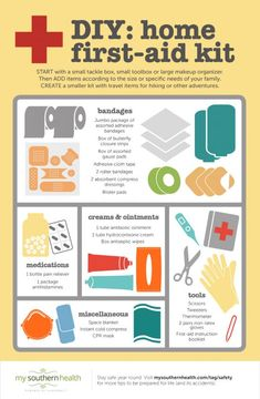 How to Make a First Aid Kit at Home (with Infographic) Make your own first aid kit so that you can be prepared for whatever life throws at you. The next time your kid scrapes his or her knee, you'll be ready! Make Your Own First Aid Kit, Diy First Aid Kit, First Aid Tips, Camping First Aid Kit, Disaster Preparedness, Survival Prepping, Survival Skills, Survival Gear, Homestead Survival
