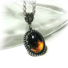 Dragon's Breath Fire Opal Necklace by pink80sgirl on Etsy, $24.00