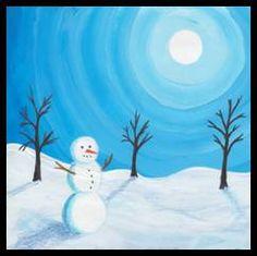 Sněhuláci – malba 2nd Grade Art, Winter Art Projects, Winter Painting, Step By Step Painting, Mini Paintings, Christmas Paintings, Learn To Paint, Winter Scenes, Preschool Crafts