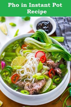 Pho in Instant Pot Recipe By Savita from Chef De Home. With just 10 minutes prep to get flavor of a day worth labor in one hour! Pho, flavorful Vietnamese Noodle Soup all prepared in Instant Pot with rich fatty yet clean broth. Chili Recipes, Quick Recipes, Popular Recipes, Vegetarian Recipes, Cooking Recipes, Popular Food, Simple Recipes, Delicious Recipes, Appetizer Recipes