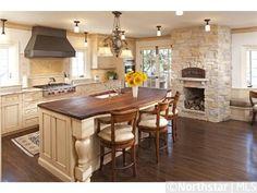 Custom kitchen with fireplace | 4807 Sheridan Avenue S, Minneapolis, MN 55410