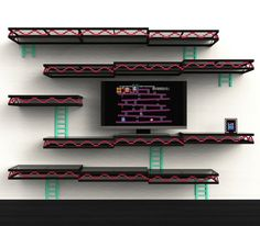 Give your entertainment room a touch of nostalgia with the Donkey Kong shelves. Designed for the old school gamer, the shelves provide ample space for all your movies and games while making your wall look like a level from the classic Donkey Kong game.