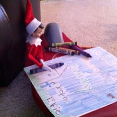 Elfie colored our son a birthday picture. Cute little elf on the shelf