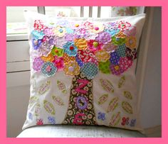 Familly tree cushion by Button Fayre
