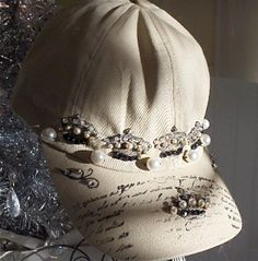 hat with rubber stamping