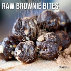 Raw Brownie Bites: For recipes and directions--> http://draxe.com/recipe/raw-brownie-bites/ #draxe #healthy #dessert #recipes #chocolatelovers