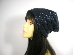 Navy Blue Sequined Slouch Hat Navy Sequined Slouch Beret Navy Slouchy Beanie Hat Glamorous Blue Sequined Slouchy Beanie for Chemotherapy by LooptheLoop on Etsy