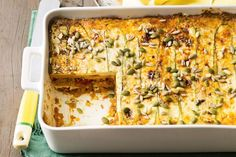 You won't even know the meat and pasta are missing in this easy yet delicious pumpkin and zucchini lasagne. It's a great recipe if you're entertaining a crowd at the weekend or putting dinner on the table for the family during the week. Vegetarian Recipes, Cooking Recipes, Healthy Recipes, What's Cooking, Vegetarian Lasagne, Vegetarian Cooking, Zucchini Lasagne, Zucchini Noodles, Zucchini Fritters