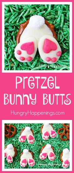 Sweet little white Pretzel Bunny Butts with fluffy marshmallow tails and adorable pink and white paws will add a touch of whimsy to your Easter baskets.