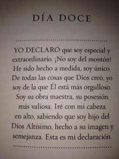 dia 12 yo declaro Christian Girls, Joel Osteen, My Philosophy, Spanish Quotes, Trust God, Happy Quotes, Gods Love, Self Help, Reiki