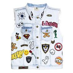 Colete Jeans com bordado de linha de máquina. 100% Algodão