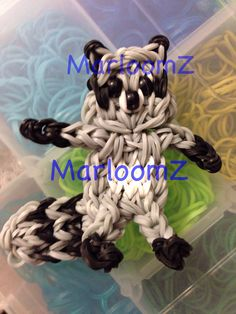 Rainbow Loom RACCOON. Designed and loomed by MarloomZ Creations. 03/15/14