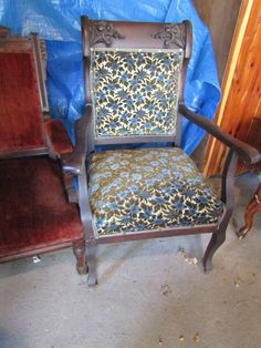 "Three antique armchairs including Eastlake style walnut with red velvet upholstery 39""T x 25""W x 22""D; mahogany framed chair with carved dragon heads, possibly Chinese, 40""T x 26.5""W x 21""D; cherry framed, floral upholstered chair with elaborate fruit and vine carving, 42""T x 26.5""W x 22""D. Upholstery needs cleaning on Eastlake and Chinese style chairs"