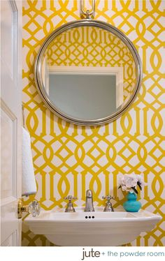 graphic wallpaper in a small bathroom. Not a fan of wallpaper but go for it and be creative in a small powder room. Trellis Wallpaper, Bold Wallpaper, Graphic Wallpaper, Bathroom Wallpaper, Mustard Wallpaper, Wallpaper Ideas, Paint Wallpaper, Wallpaper Designs, Yellow Geometric Wallpaper
