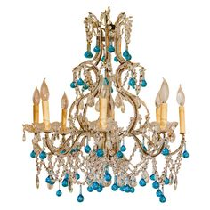 Vintage Turquoise Chandelier
