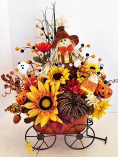Halloween Floral 'Scarecrow In Wagon' Arrangement, Whimsical Floral Wagon Arrangement, Halloween Centerpiece, Halloween Decor, Gift Ideas Whimsical Halloween, Diy Halloween Decorations, Fall Halloween, Halloween Ideas, Fall Floral Arrangements, Fall Home Decor, Fall Flowers, Fall Wreaths, Fall Crafts