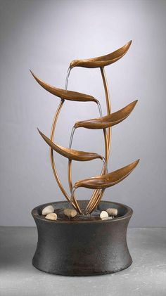BuildDirect – Water Features - Decorative Table Top Fountains – Natura Metal Leaves Tabletop Fountain - Bathroom View