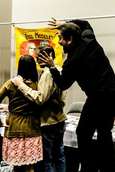 Make up wizard Tom Savini photo bombs actor Bill Moseley at the HorrorHound Convention march 23