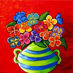 Whimsical Folk Art Giclee ....Flowers to brighten   your day.