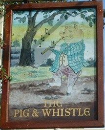 Pig & Whistle, Aston, Herts, UK  The origin of the name Pig and Whistle is somewhat obscure. There are a number of explanations many of which hang around the meaning of the two words pig and whistle. A pig is supposed, in many theories, to be a reference to a drinking vessel and the whistle to wassail, a toast. According to Wikipedia the name is a corruption of piggin wassail, meaning good health.