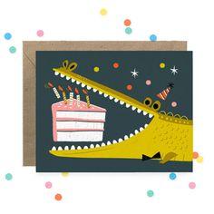 Alligator Birthday Card (Blank interior) by HoorayToday on Etsy ~ SO cute!