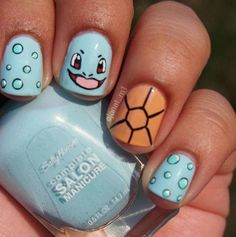 We have Janet Mendoza to thank for Squirtle's goofy expression in this colorful… Cute Nail Art, Cute Nails, Pretty Nails, Diy Nail Designs, Acrylic Nail Designs, Pikachu Nails, Nail Art Dessin, Anime Nails, Cute Spring Nails