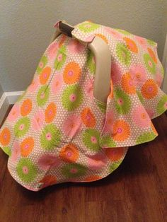 Gray with Flowers carseat canopy FLANNEL by LilacsAndLeopards