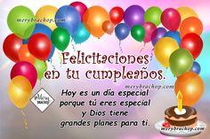 imagen felicitaciones en cumpleaños Happy Birthday Cards, 2nd Birthday, Birthday Cards, Happy Birthday Grandson, Birthday Message, Happy Birthday Greeting Cards, Anniversary Cards