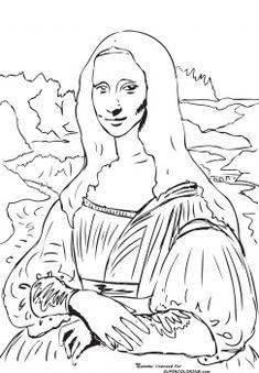 Mona Lisa (la Gioconda) By Leonardo Da Vince free printable coloring page
