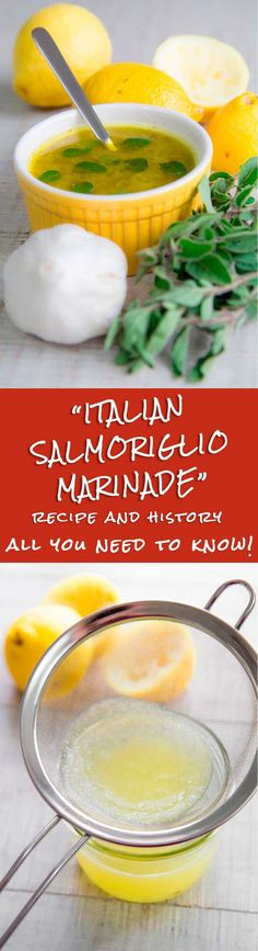 SALMORIGLIO RECIPE AND HISTORY - Italian lemon and olive oil marinade - Salmoriglio is an ancient, Italian marinade and dressing composed by lemon juice, olive oil, garlic and oregano. Thanks to its sour, lemony flavor it helps to tenderize fish, meats, and vegetables giving them a delicious taste! Here, the history and the recipe. - tags:  sauce dressing seasoning healthy Italy recipes salad chicken lamb swordfish barbeque family dinner recipes beef steak tuna salmon marination
