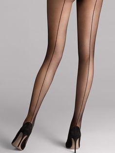 Shop the latest in designer hosiery with the Individual 10 Back Seam Tights from Wolford. An elegant, matte transparent tight with alluring knitted seam running from waistband to toe. Wolford Tights, Sheer Tights, Black Tights, Tights And Heels, Pantyhose Heels, Stockings Heels, Black Stockings, Wolford Stockings, Pantyhose Outfits