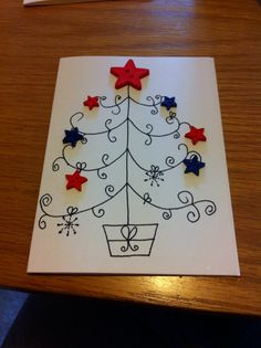 Freehand drawn Christmas tree card with button decorations