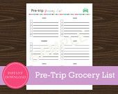 Travel Planner - Pre-Trip Grocery List Road Trip Planner, Vacation Planner, Travel Planner, Travel List, Usa Roadtrip, Printable Planner, Printables, Road Trippers, Travel Items