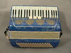 Vintage ITALIAN Galanti Accordion BLUE w/ Case 1950s  $150.00