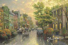 Charleston, Sunset on Rainbow Row by Thomas Kinkade