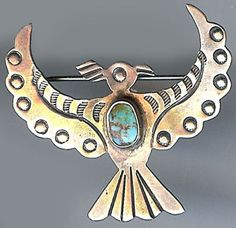 VINTAGE NAVAJO INDIAN STAMPED DESIGNS STERLING SILVER TURQUOISE THUNDERBIRD PIN