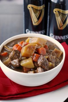 Guinnes beef stew in the slow cooker.  This recipe contains CHOCOLATE in it!  And beer!  Sounds weird but got really good ratings ~ I could be persuaded to try it .... I do like Guinness, and chocolate!