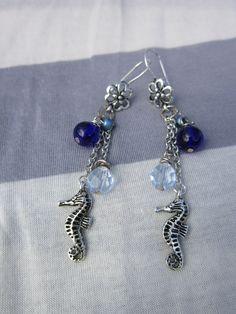 Silver Seahorse Nautical Czech Glass Bead Earrings by HarperLayne. $15, via Etsy.