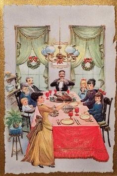 Thanksgiving School Postcards for Business - Bing images Christmas Scenes, Noel Christmas, Victorian Christmas, Retro Christmas, Christmas Collage, Vintage Christmas Images, Vintage Holiday, Christmas Pictures, Vintage Thanksgiving