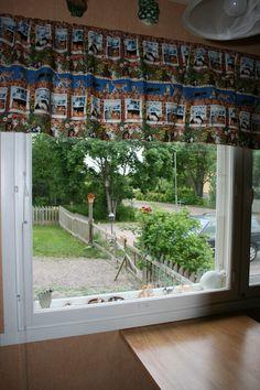 Näkymä kesällä keittiönikkunasta ulos, huom. kissaihmiset, katsokaa verhoja :)